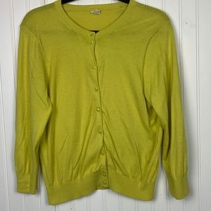 J. Crew  Crew Neck Yellow Green Buttoned Sweater